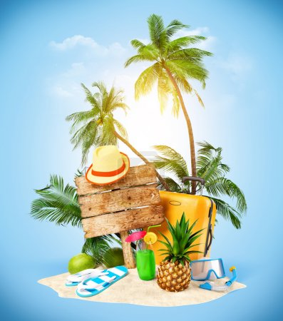 Photo for Tropical island. Creative collage. Travelling - Royalty Free Image