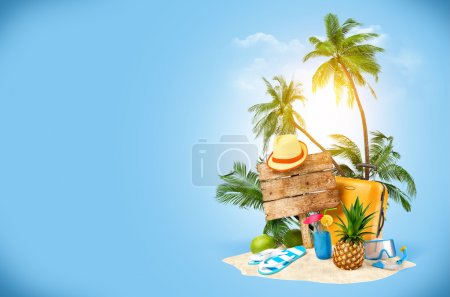 Photo for Tropical island. Creative collage. Traveling - Royalty Free Image