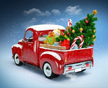 Foto de Fondo de Navidad. camioneta con árbol de Navidad y regalos. Feliz Navidad y feliz año nuevo - Imagen libre de derechos
