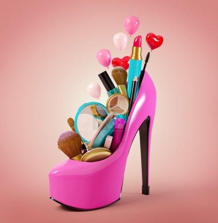 Photo pour Des cosmétiques mis dans la chaussure d'une femme. Illustration de mode - image libre de droit