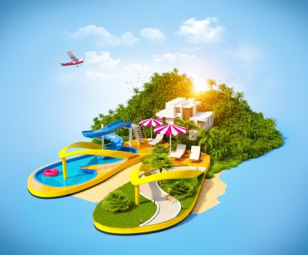 Tropical resort on flip-flops. Unusual illustratio...