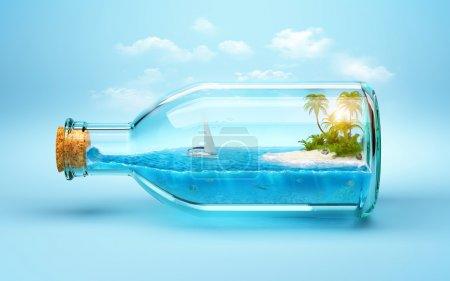 Photo for Tropical island and underwater world in  the bottle. Traveling, vacation - Royalty Free Image