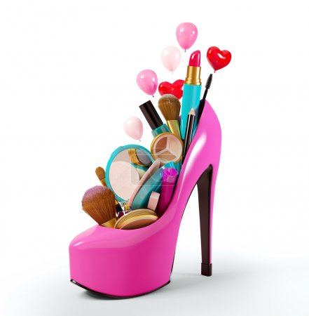 Cosmetics set into a woman's shoe. Fashion illustr...