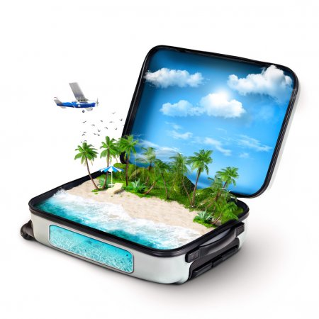 Photo for Open suitcase with a tropical island inside. Traveling - Royalty Free Image