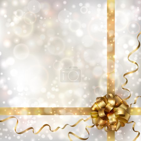 Illustration for Abstract Christmas background with golden bow. EPS10 - Royalty Free Image