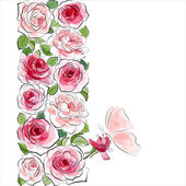 Stylish floral background Pink roses with butterfly