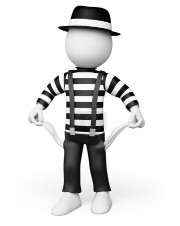 3D white . Mime showing his empty pockets