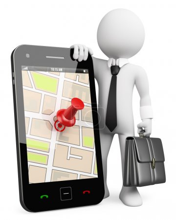 3D business white . Mobile phone with GPS