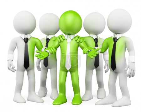 Photo for 3d white business persons with green feeling. 3d image. Isolated white background. - Royalty Free Image