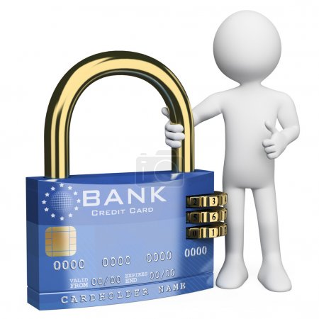 3D white . Secure credit card