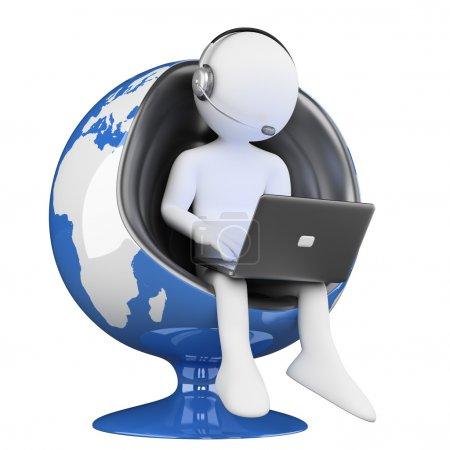 Photo pour 3d personne blanche. Mondialisation des services de téléopérateurs. Image 3D. Fond blanc isolé . - image libre de droit