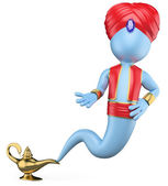 3D white . The genie in the lamp