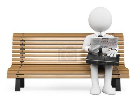 Photo pour 3D blanc. homme d'affaires, assis sur un banc de recherche d'emploi dans le journal. fond blanc isolé. - image libre de droit