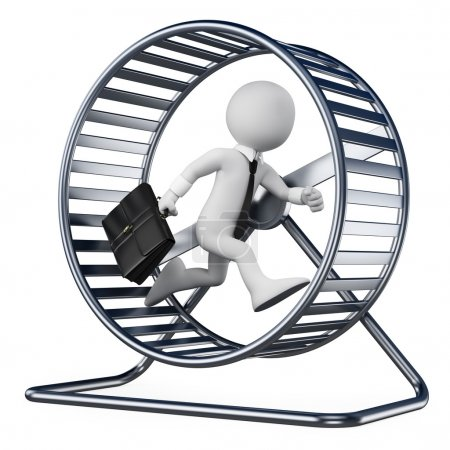 3D white people. Businessman in a hamster wheel