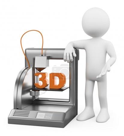 Photo pour 3D les blancs. imprimante 3D fusionnés avec travail de dépôts. fond blanc isolé. - image libre de droit