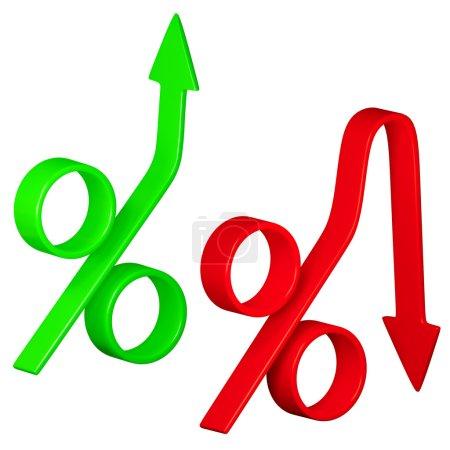 Photo pour Changement dans les taux d'intérêt. image 3d conceptuel - image libre de droit