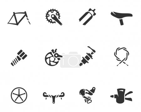 Bicycle part icons series in single color. EPS 10....