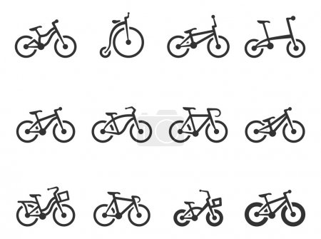 Bicycle type icons in single color. EPS 10. AI, PD...