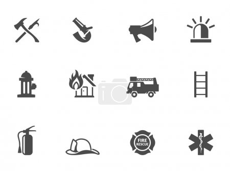 Fire fighter icons in black & white. EPS 10. AI, P...