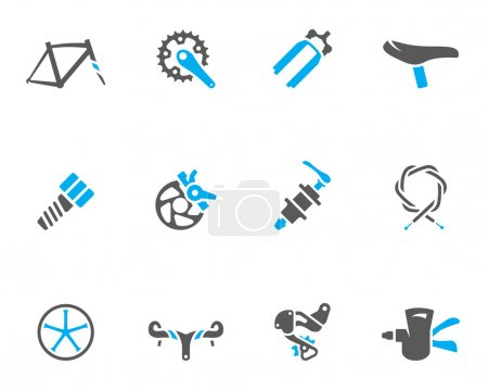Bicycle part icons series in duo tone colors.