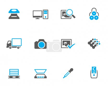 Printing & graphic design icon set in duotone colors.