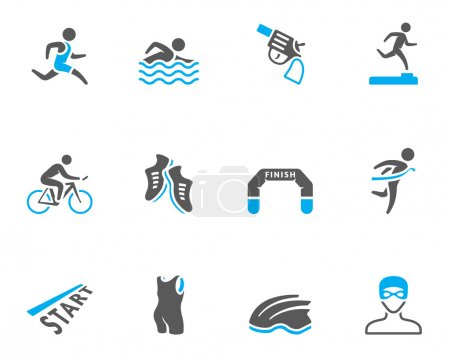 Triathlon icon series in duo tone colors
