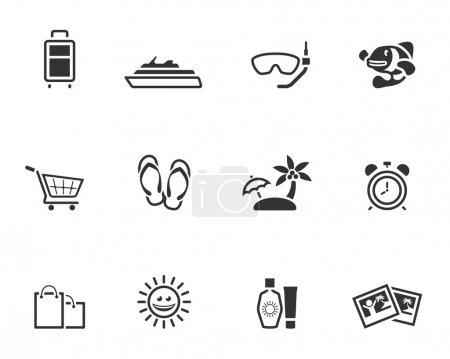 Travel icon set in single color style