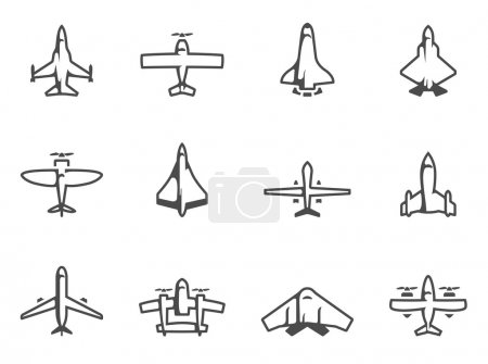 Airplane silhouette icons in black & white