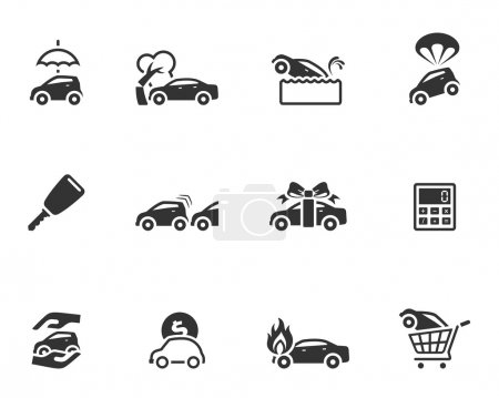 Illustration for Car insurance icons in single color. EPS 10. AI, PDF & transparent PNG of each icon included. - Royalty Free Image