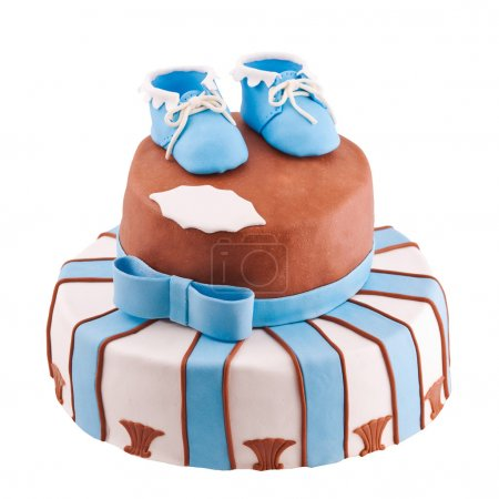 Isolated cake with baby bootee