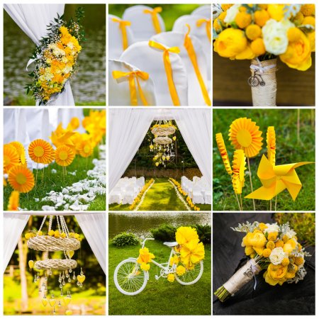 collage of Wedding decorations