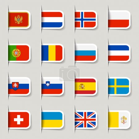 Photo for 16 European Flags - Royalty Free Image