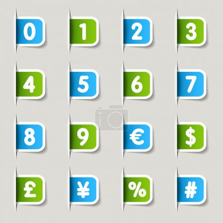 """Illustration for 16 """"numbers & currency"""" icons set - Royalty Free Image"""
