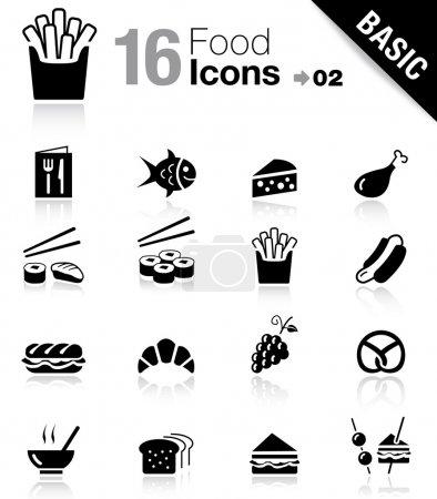 """Illustration pour Ensemble de 16 icônes """"nourriture et restaurant"""" - image libre de droit"""