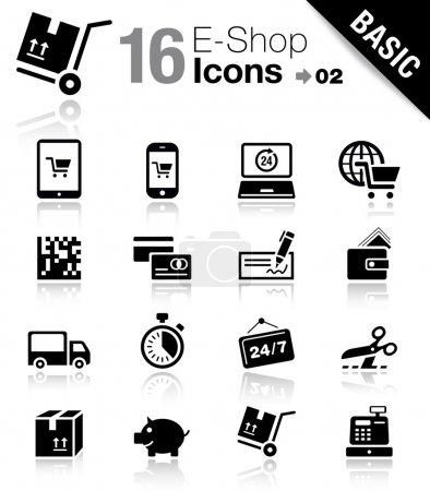 "Illustration for 16 ""online shopping"" icons set - Royalty Free Image"
