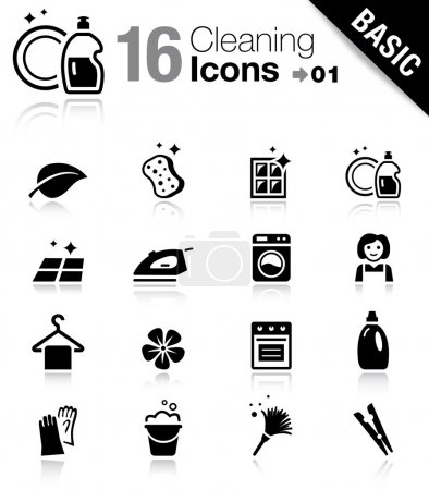 "Illustration for 16 ""cleaning and household"" vector icons set - Royalty Free Image"