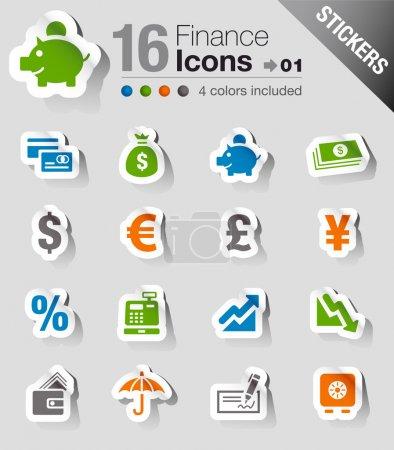 """Illustration pour Ensemble de 16 icônes """"Finance et banque"""" - image libre de droit"""