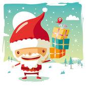 A cute Santa Claus and his gifts