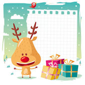 Rudolph the Reindeer and his gifts on Christmas day