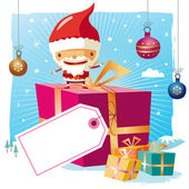 Christmas - santa claus and his gifts with a big tag