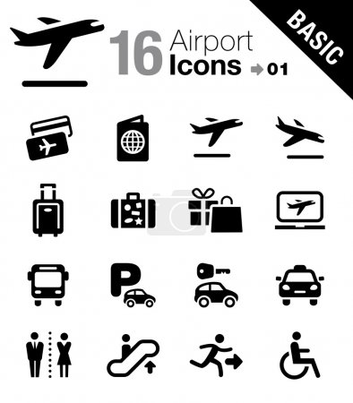 """Illustration for 16 """"Airport and Travel"""" icons set - Royalty Free Image"""