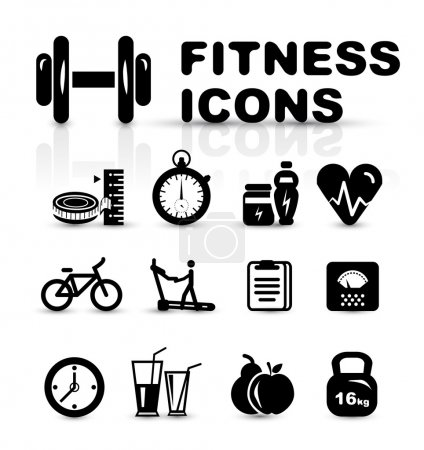 Illustration for Black fitness icon set isolated on white - Royalty Free Image