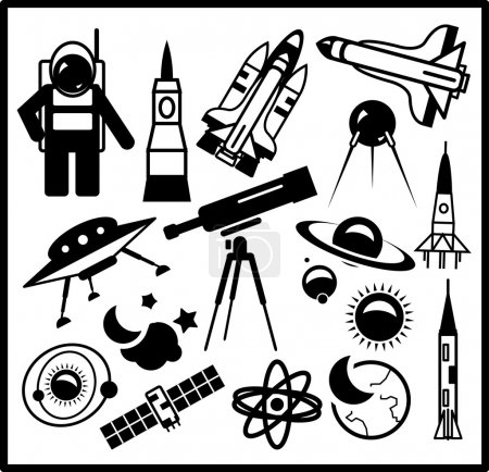 Illustration for Set of black space icons isolated on white - Royalty Free Image
