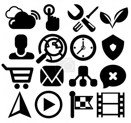 Modern black web icon set