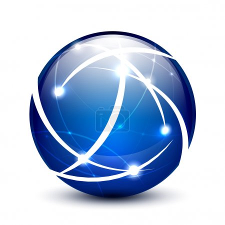 Illustration for Blue vector communication globe icon concept design - Royalty Free Image