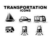 Black glossy transportation vector icon set