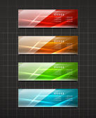 Glossy shiny banners on black