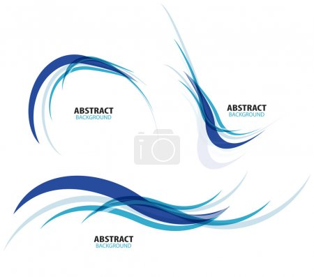 Illustration for Set of flowing blue wave lines - Royalty Free Image