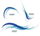 Set of flowing blue wave lines