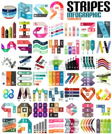Illustration for Big set of infographic modern templates - stripes, ribbons, lines. For banners, business backgrounds, presenations - Royalty Free Image